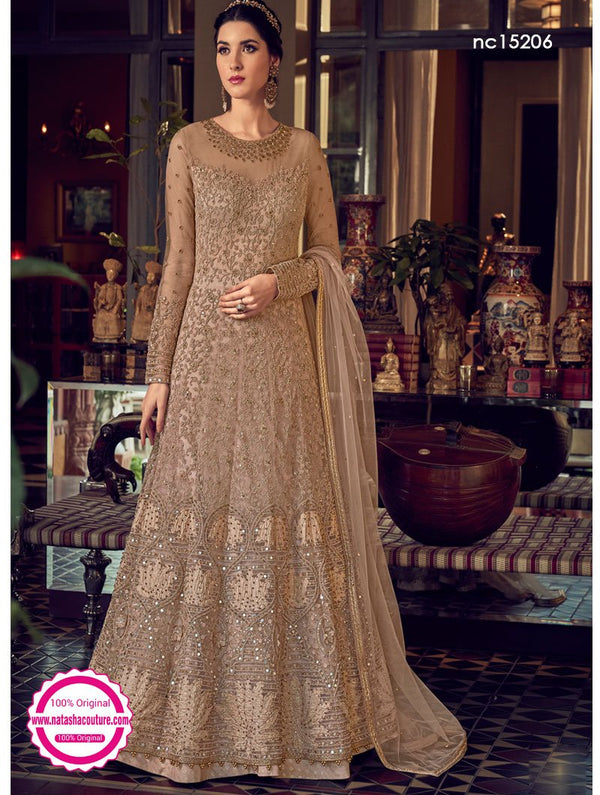 Beige Net Anarkali Suit NC15206