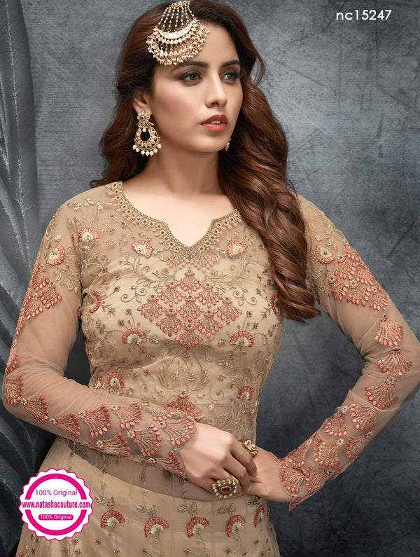 Beige Net Anarkali Suit NC15247