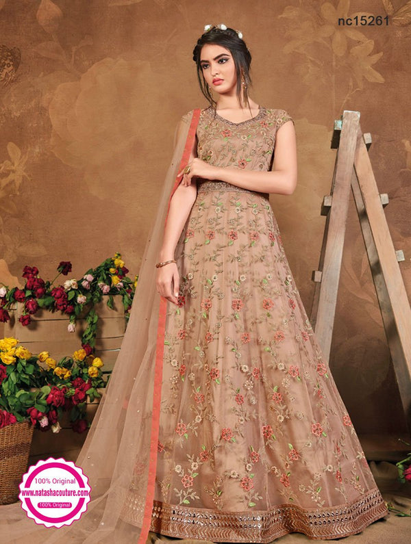 Beige Net Anarkali Suit NC15261