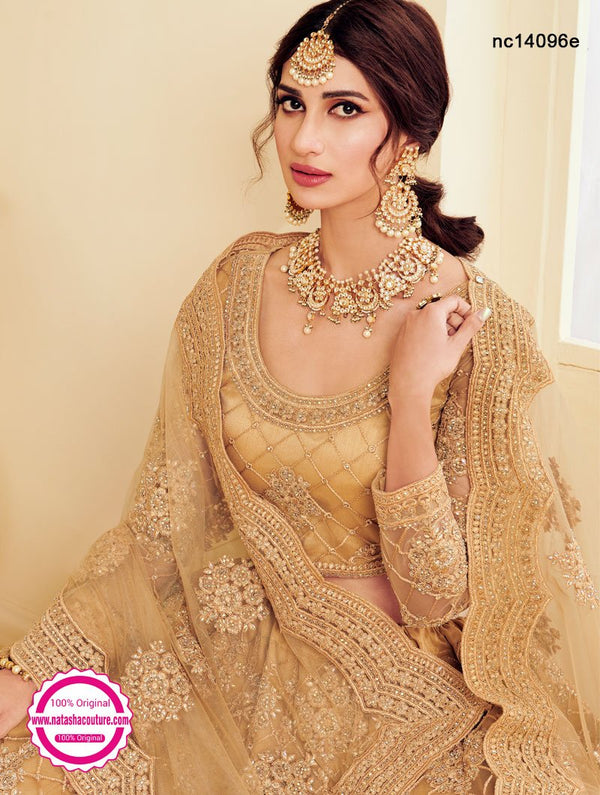 Beige Net Embroidered Lehenga Choli NC14096E