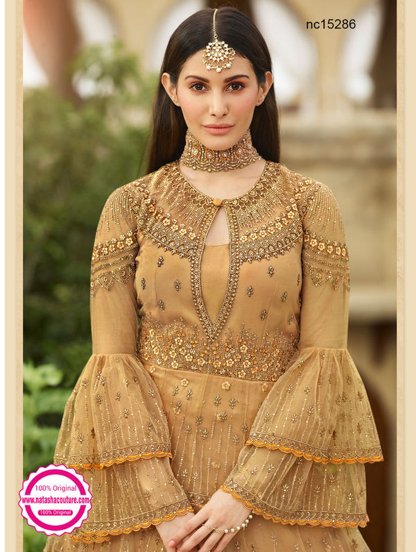 Beige Net Lehenga & Long Blouse NC15286