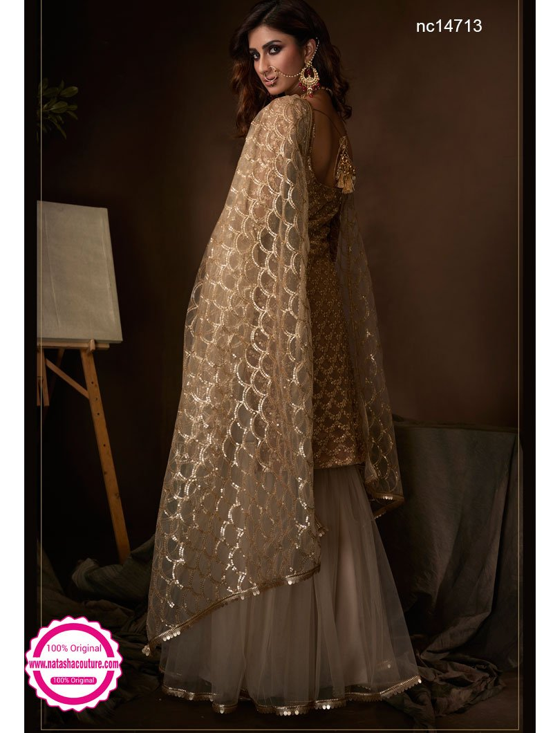Beige Net Sharara Pants Suit NC14713