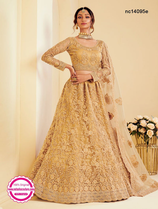 Beige Net Wedding Wear Lehenga Choli NC14095E