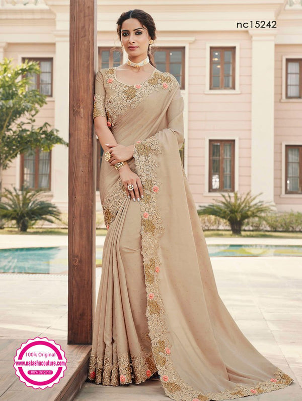 Beige Satin Georgette Saree NC15242