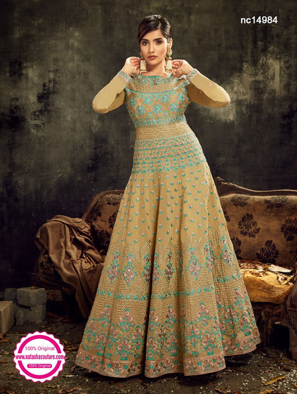 Beige Silk Anarkali Suit NC14984