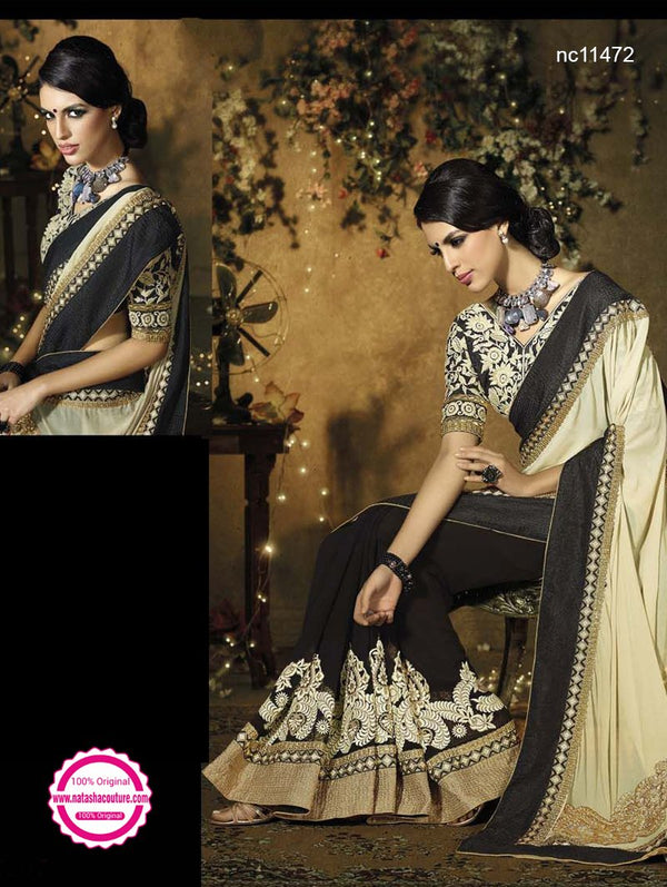 Black & Cream Semi Georgette Saree NC11472