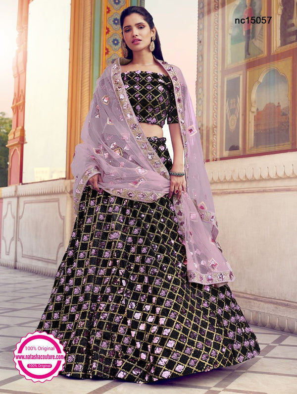 Black Fur & Sequins Lehenga Choli NC15057