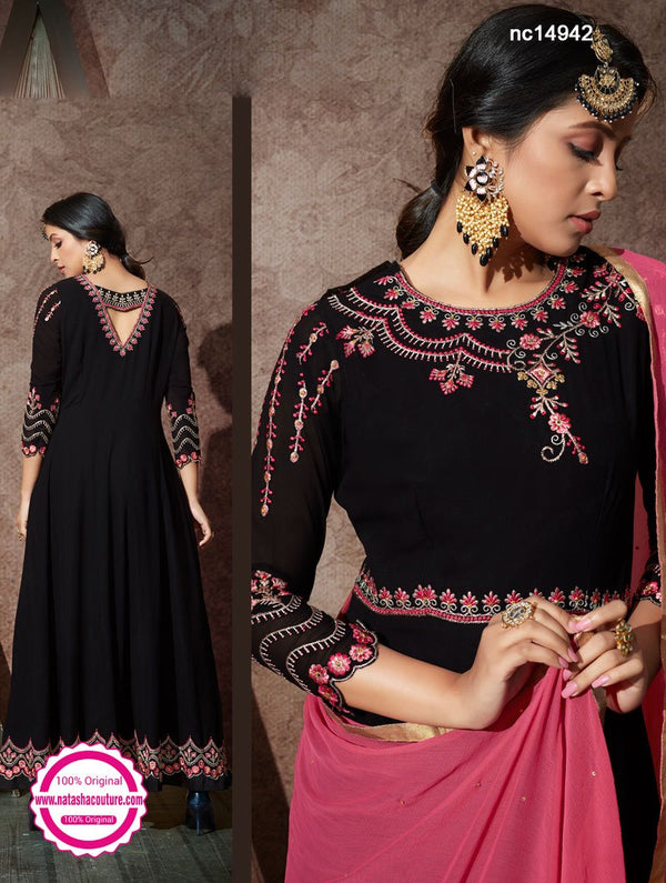 Black Georgette Anarkali Suit NC14942