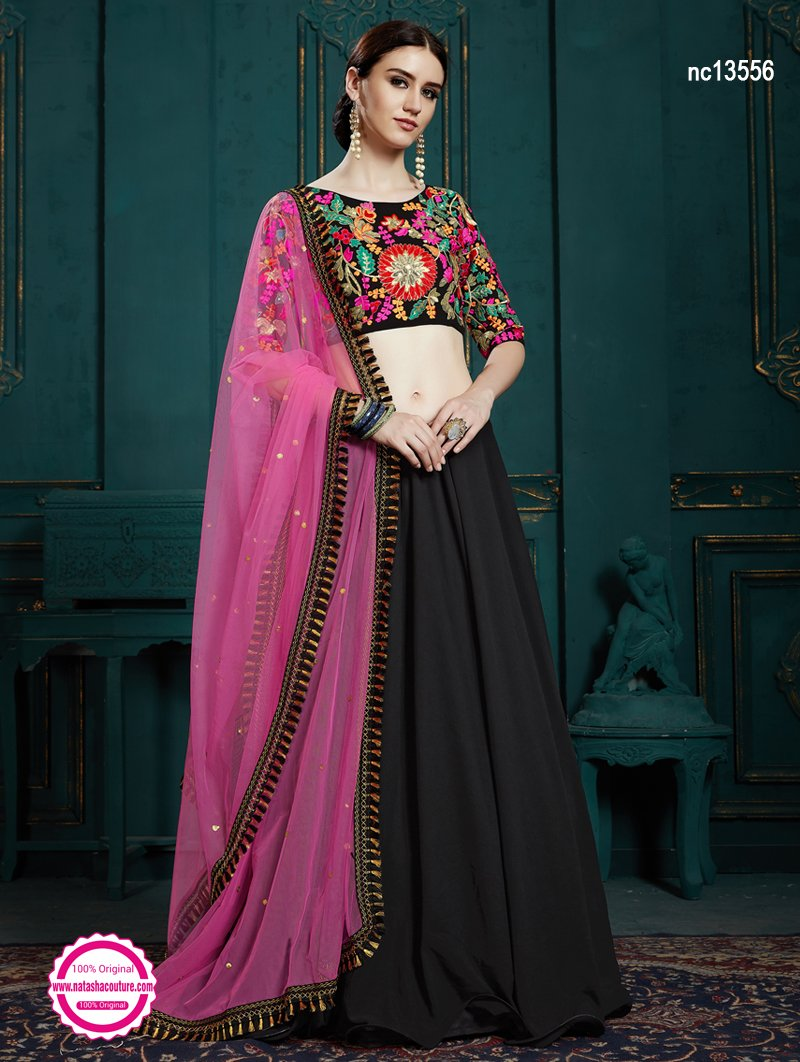 Black Georgette Lehenga Choli NC13556