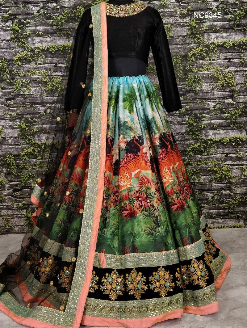 Black & Green Art Silk & Velvet Bollywood Lehenga Choli NC9345