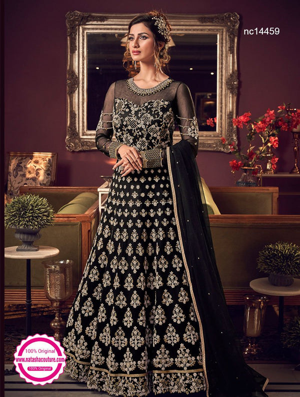 Black Net Anarkali Suit NC14459