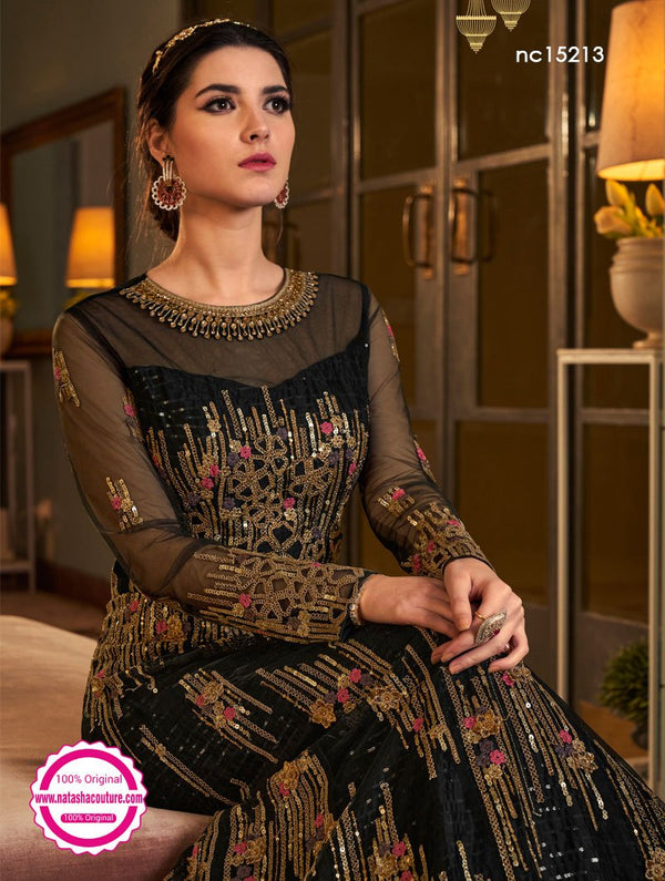 Black Net Anarkali Suit NC15213