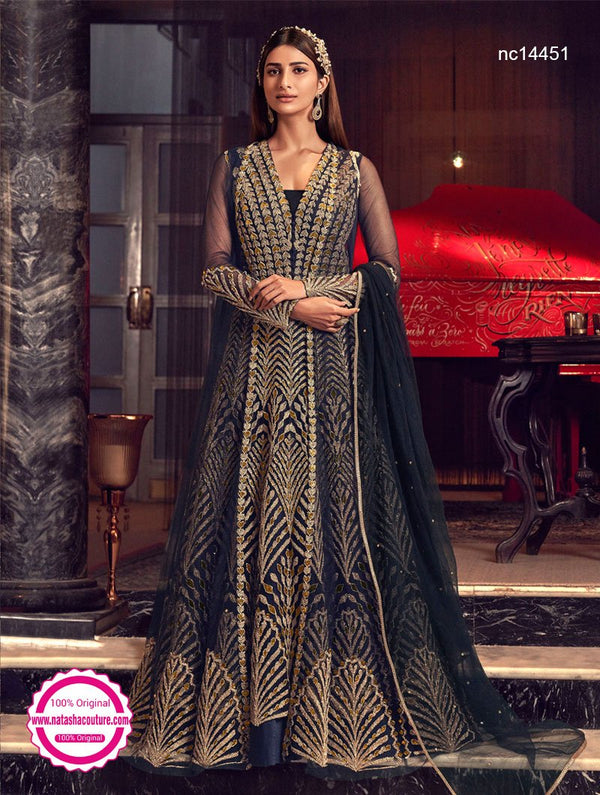 Black Net Jacket Style Anarkali Suit NC14451