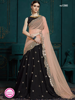 Black & Peach Georgette Lehenga Choli NC13560