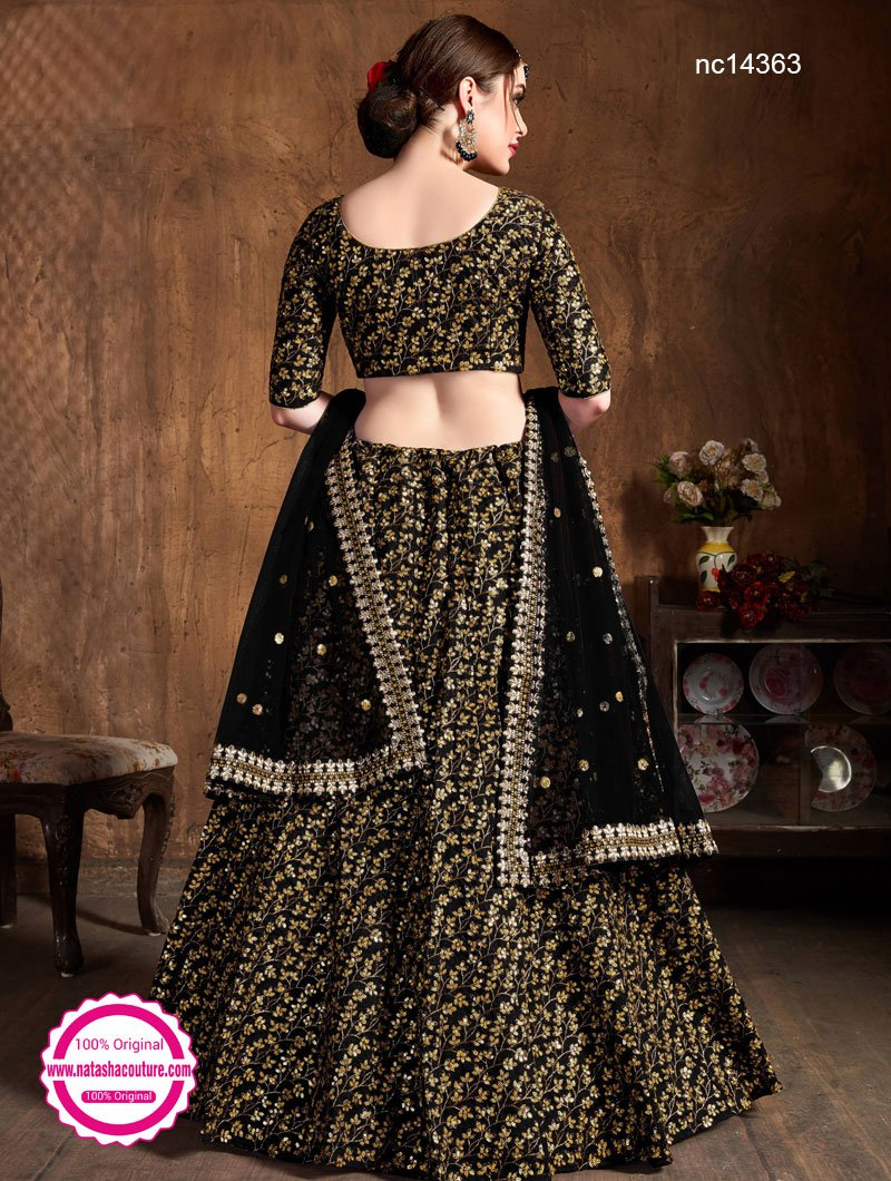 Black Raw Silk Lehenga Choli NC14363