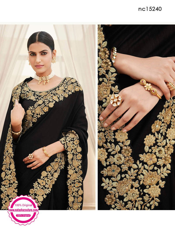 Black Satin Georgette Saree NC15240