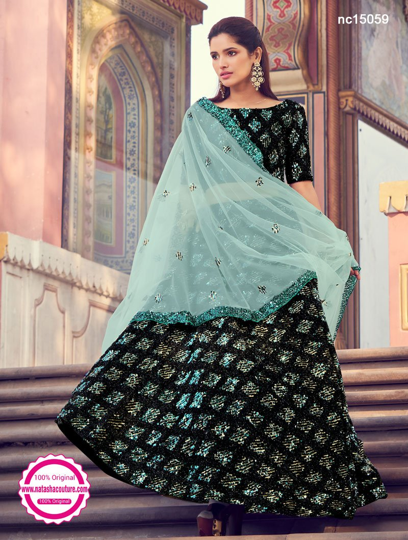 Black & Sea Green Fur & Sequins Lehenga Choli NC15059