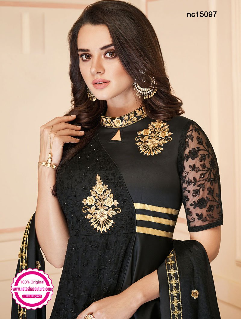 Black Silk Anarkali Suit NC15097