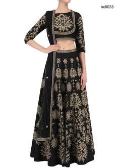 Black Silk Bollywood Lehenga Choli NC9038