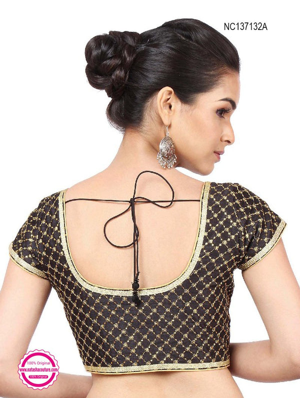 Black Silk Designer Readymade Blouse NC137132A