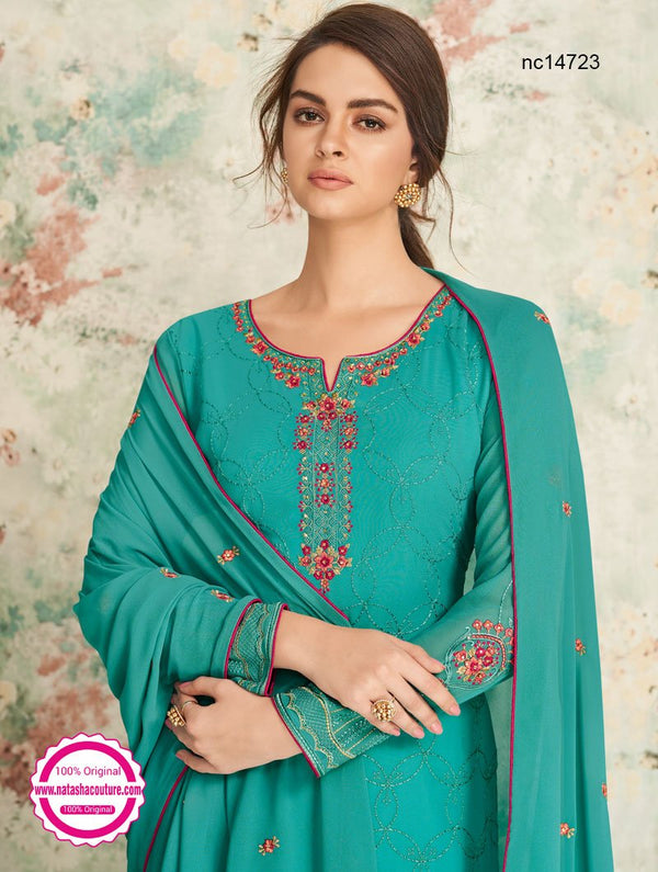 Blue Georgette Palazzo Suit NC14723