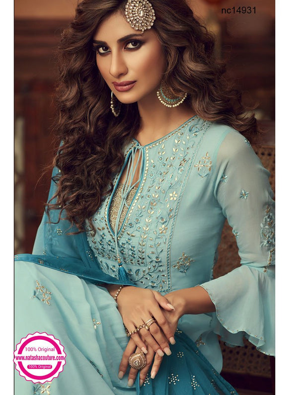 Blue Georgette Palazzo Suit NC14931