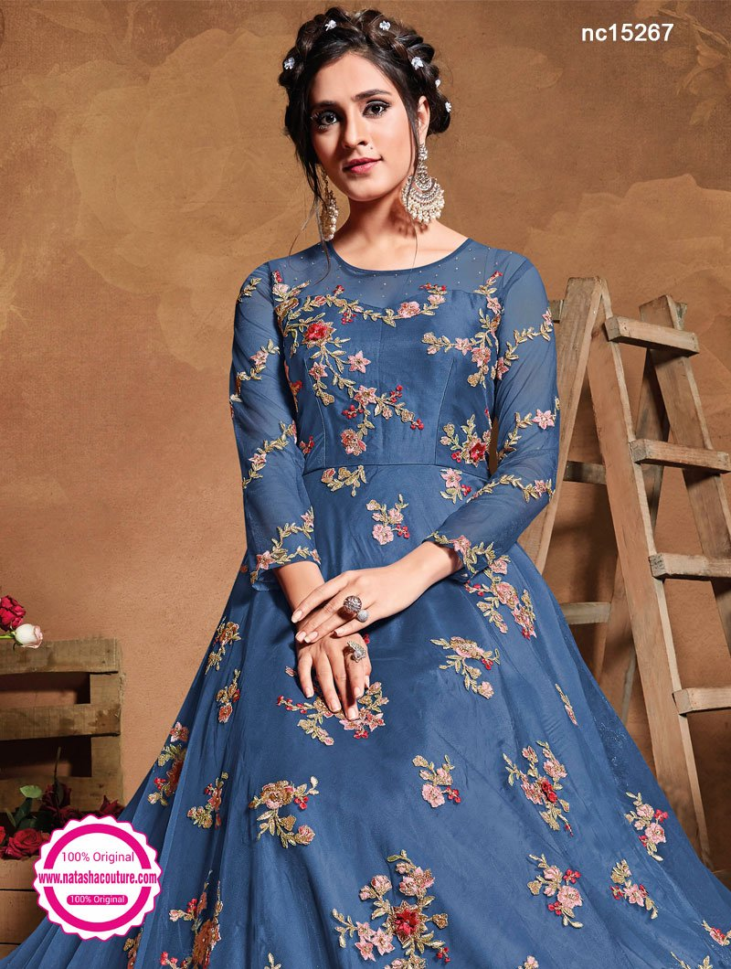 Blue Net Anarkali Suit NC15267