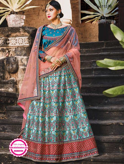 Blue Pure Satin Lehenga Choli NC11579