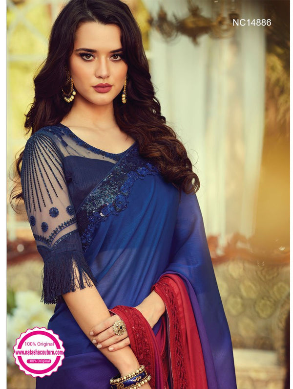 Blue & Red Shaded Silk Saree NC14886
