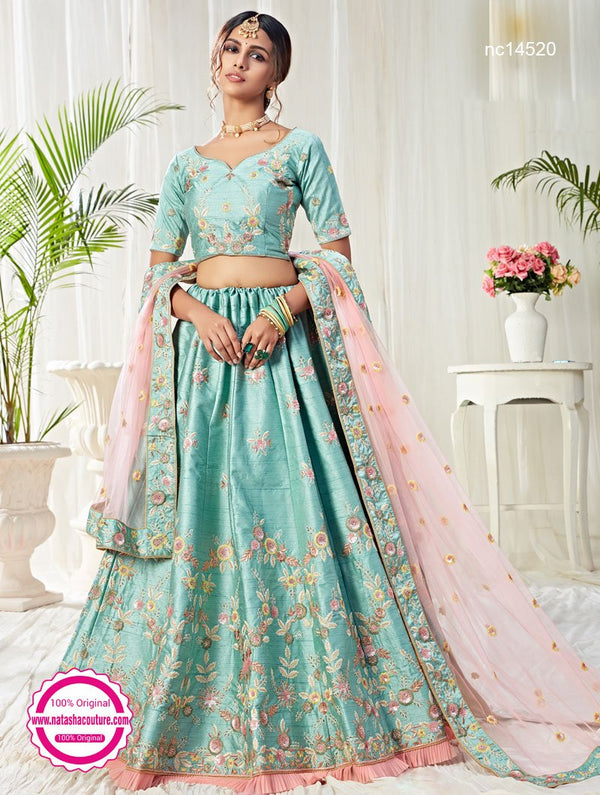 Blue Silk Bridal Lehenga Choli NC14520