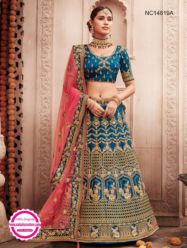 Blue Silk Bridal Lehenga Choli NC14819A