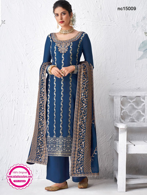 Blue Silk Palazzo Suit NC15009