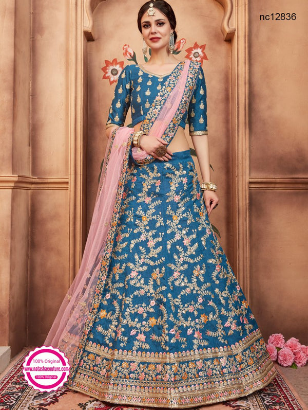 Blue Silk Wedding Wear Lehenga Choli NC12836