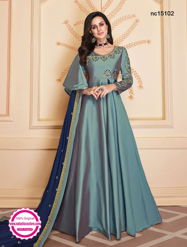 Blue Two Tone Silk Anarkali Suit NC15102