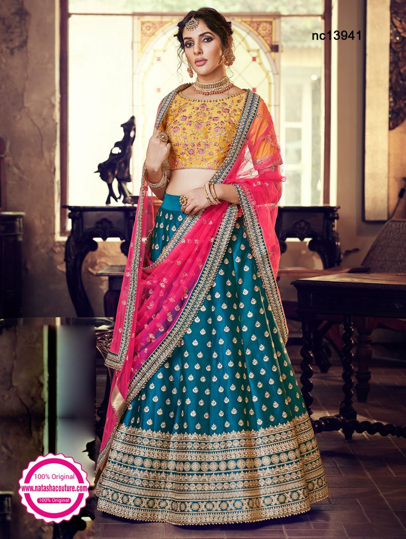 Blue & Yellow Satin Silk & Handloom Silk Lehenga Choli NC13941