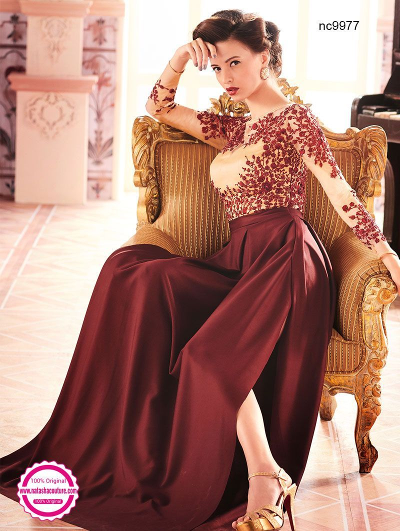 Brown & Cream Net & Satin Creased Readymade Gown NC9977