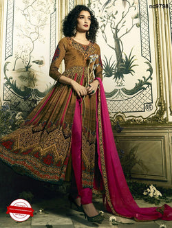 Brown Crepe Readymade Printed Anarkali NC9798