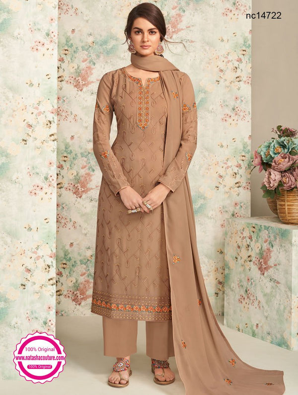 Brown Georgette Palazzo Suit NC14722