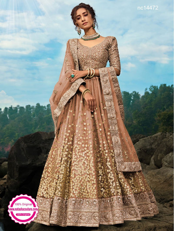 Brown Net Lehenga Choli NC14472