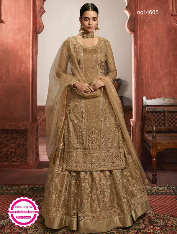 Brown Net Lehenga & Pant Style Suit NC14605A