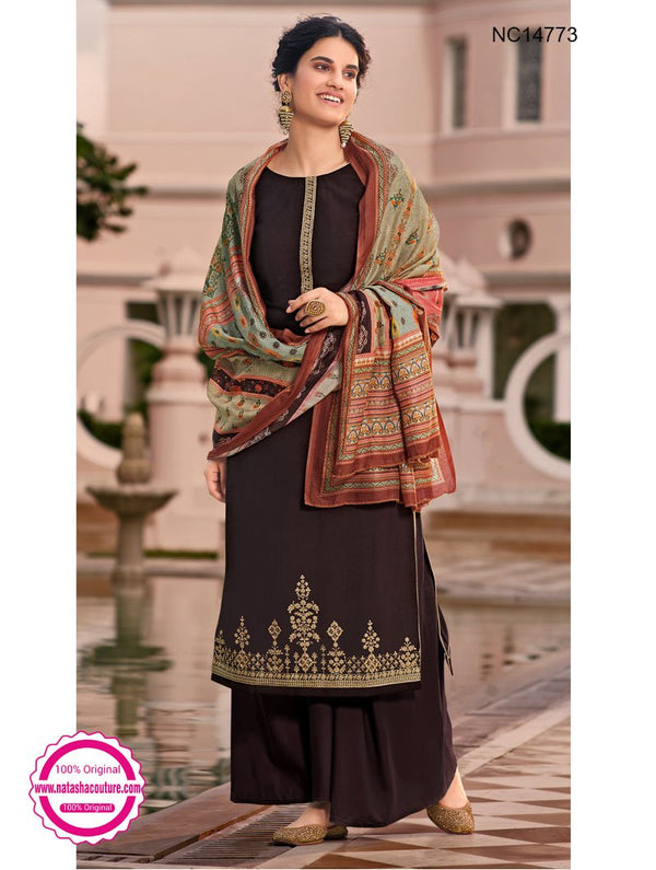 Brown Tussar Silk Palazzo Suit NC14773