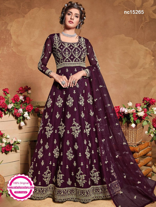Burgundy Net Anarkali Suit NC15265