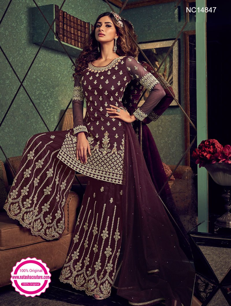 Burgundy Net Sharara Pants Suit NC14847