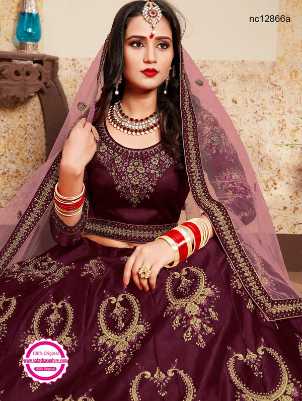 Burgundy Satin Wedding Lehenga Choli NC12866A