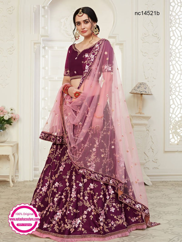 Burgundy Silk Bridal Lehenga Choli NC14521B