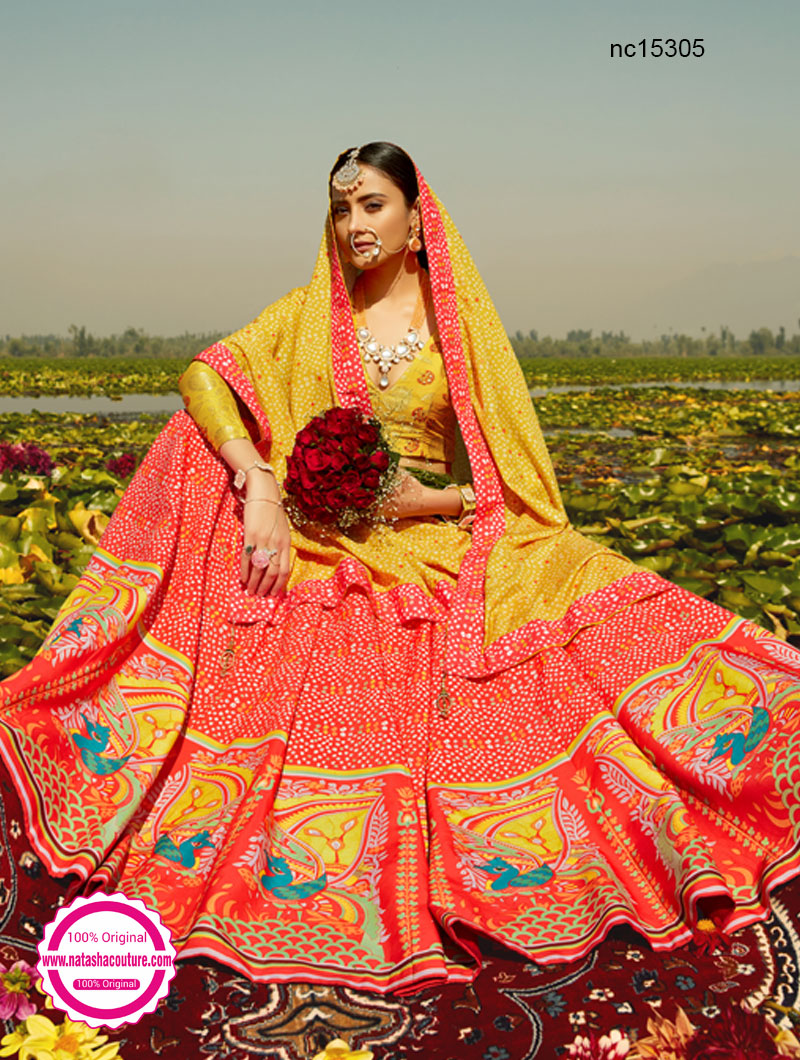 Coral Orange & Mustard Silk Printed Lehenga Choli NC15305