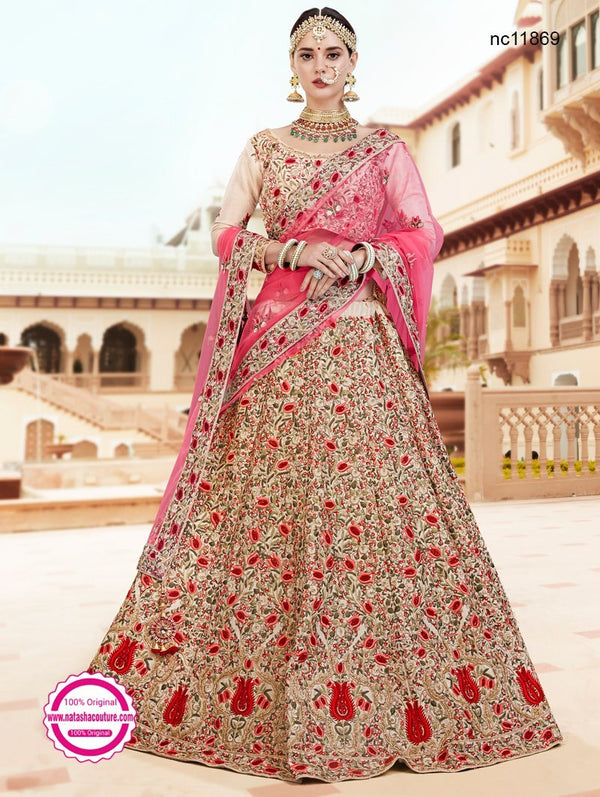 Cream Banarasi Tissue Bridal Lehenga Choli NC11869