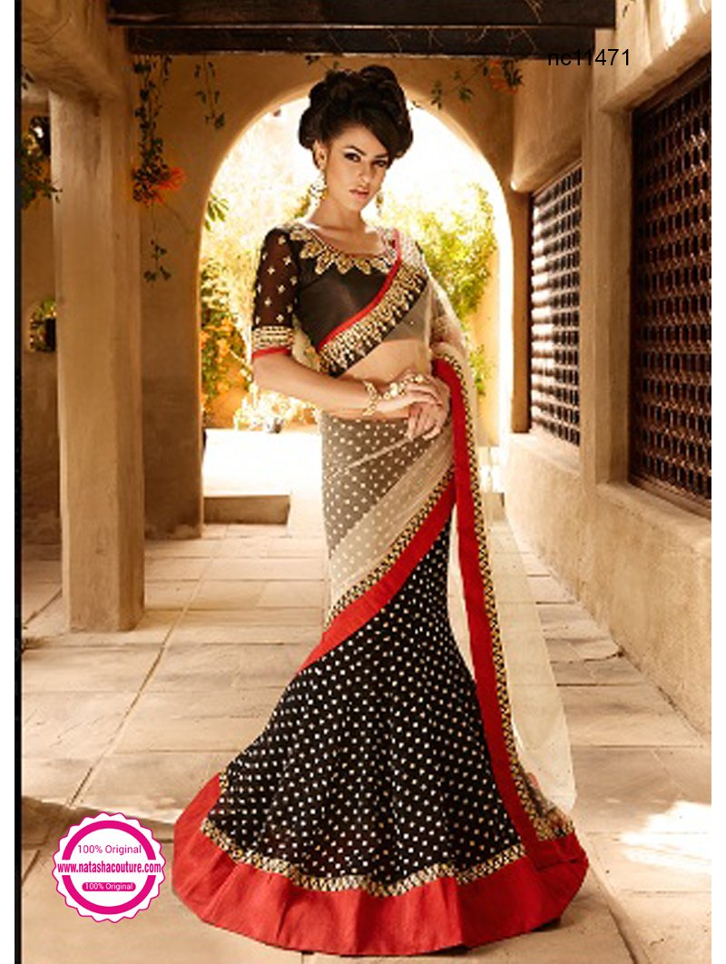 Cream & Black Net & Semi Georgette Lehenga Saree NC11471