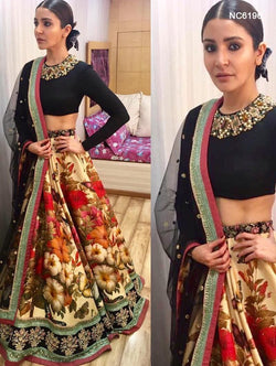 Cream & Black Silk & Velvet Floral Bollywood Lehenga Choli NC6196