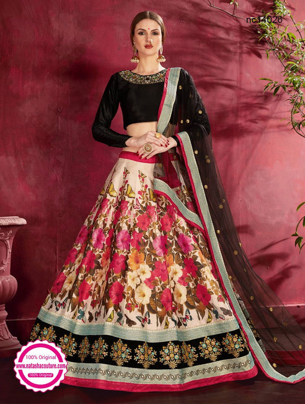 Cream & Black Silk Floral Lehenga Choli NC14026